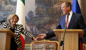 Italian Foreign Minister Emma Bonino meets Russian Foreign Minister Sergei Lavrov